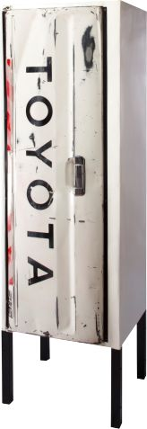 """TOYOTA cabinet"" by Ronen Tinman // A cabinet built around one door. The door's original mechanism is used to open the cabinet. #reuse"