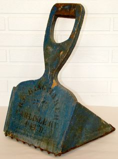 Antique 1800's Primitive Blue Paint Cranberry Seed Grain Wood Scoop Carlisle KY
