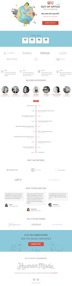 Long scrolling One Pager for 'Out Of Office' - an online remote work event by the rad team over at Human Made.
