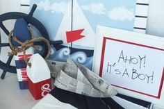 If you know a friend or family member is having a little boy, a nautical theme baby shower is a baby shower with a difference. Red, blue and white colours and nautical decor make for a fun baby shower party. Baby Shower Parties, Baby Shower Themes, Baby Boy Shower, Baby Shower Decorations, Shower Ideas, Baby Showers, Wedding Showers, Pool Parties, Baby Decor