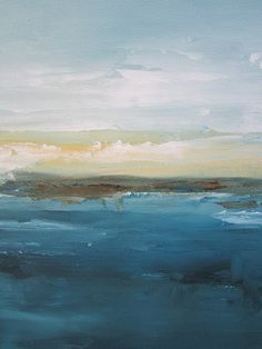 Original Abstract Seascape Painting -Blue Sea 12 x 24  Linda Donohue  $165