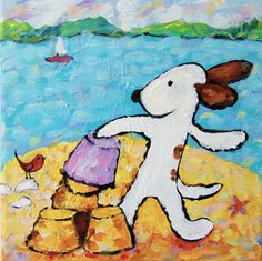 whimsical painting of a dog building a sandcastle at the beach www.etsy.com/shop/everygoodcolor