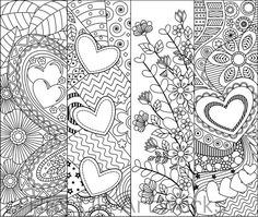 8 Printable Coloring Bookmarks for Valentines Day; Coloring Bookmarks with Hearts Paisley Doodle, Paisley Drawing, Coloring Book Pages, Printable Coloring Pages, Coloring Sheets, Diy Bookmarks, Book Markers, Zentangle Patterns, Colorful Drawings