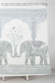 Soft cotton shower curtain topped with an elephant graphic brings a simple charm to your bathroom. THINGS TO KNOW: Cotton Machine wash (L) Brand: Retailer: Urban-Outfitters Contemporary Bathroom Inspiration, Elephant Shower Curtains, Decoration, Tapestry, Colours, Simple, Urban Outfitters, Bathroom Things, Design