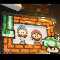 Super Mario photo frame perler beads by joshua_mzn