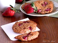 Paleo Strawberry Breakfast Cookie- almond flour and honey or maple syrup. makes 36 cookies so 1/2 the recipe! Can sub with other berries