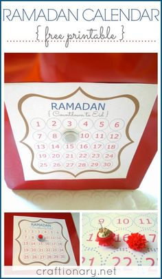 Ramadan calendar free printable for decorative Eid home idea. Print and hang in a frame or board. Ramazan till Eid countdown for roza (fast) counting daily Eid Crafts, Ramadan Crafts, Ramadan Decorations, Fasting Ramadan, Islam Ramadan, Eid Party, Iftar Party, Preparing For Ramadan, Ramadan Tips