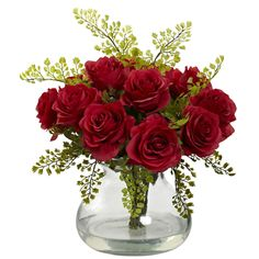 - Description - Specifications A colorful arrangement of timeless Roses and Maidenhair silk flowers presented in a curved glass vase with Liquid Illusion faux water. A classic arrangement perfect for