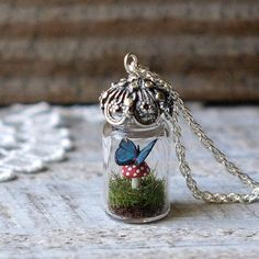 Tiny Terrarium Necklace Blue Morpho Butterfly and Red Spotted Toadstool Mushroom Glass Vial