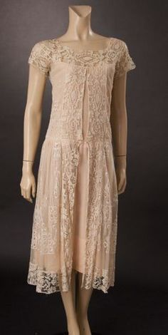 1920s ivory lace and net dress with pink silk crepe underneath.