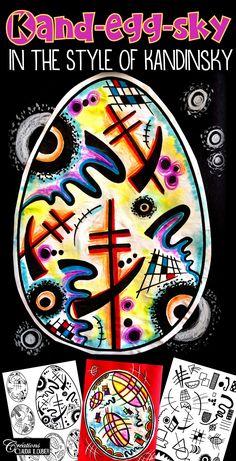 art lesson Easter : Kand-egg-sky Art Lesson Plan in the Style of Kandinsky Classroom Art Projects, Art Classroom, Abstract Art For Kids, Jr Art, Art Drawings For Kids, Easter Art, Easter Ideas, Art Lessons For Kids, Ecole Art
