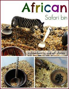 Sensory bin featuring animals and crafts from Africa; sensory bins can help children learn about other places and cultures.