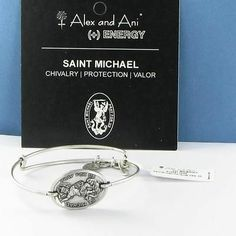 Alex & Ani Saint St Michael Horizontal Bracelet Russian Silver Pray For Us NWT