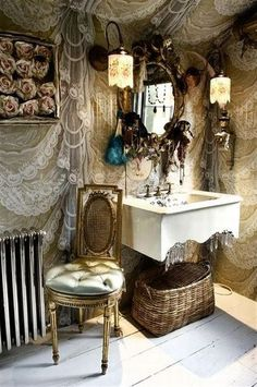Bath & Body: A wonderful Bohemian Gypsy bath with lace on the walls and crystals suspended from the sink.