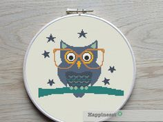 A wise owl cross stitch pattern.  The pattern comes as a PDF file that youll will be able to download immediately after purchase. In addition the PDF