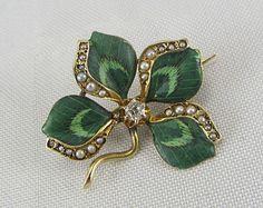 Art Nouveau 14K Diamond Seed Pearl Enamel Clover Pin Antique 1900s Enamel Brooch Yellow Gold Fine Jewelry.