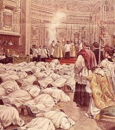 Prostrations, which signify total humility and penance, are made during the Rite of Ordination, during rites of religious profession (i.e., entry into religious orders), as penance in religious orders, and by anyone during private prayer before a Crucifix or the Blessed Sacrament. (fisheaters.com)