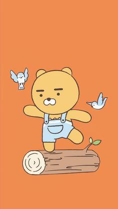 Soft Wallpaper, Bear Wallpaper, Kawaii Wallpaper, Wallpaper Iphone Cute, Cute Wallpapers, Ryan Bear, Kakao Ryan, Kakao Friends, Line Friends