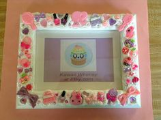 Pink Purple Nail Polish Photo Frame Decoden by KawaiiWhimsy, $25.00