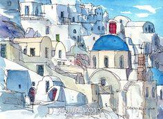 Santorini Oia 7 Greece art print from an original watercolor painting