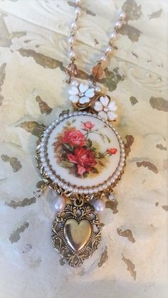 Romantic Vintage Upcycled Jewelry Necklace.. Oh so much vintage so very Romantic Mori Girl.. Shabby Chic!!!