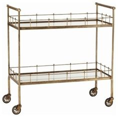 """I have a spot in my dining room calling for this brass bar cart, """"Oh bar cart make your way to me."""""""