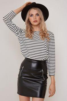Black Mini Skirt Leather