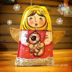 Новый год 2016 ручной работы. Ярмарка Мастеров - ручная работа. Купить Ангел с мишкой. Елочное украшение. Handmade. Розовый