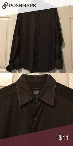 Claiborne chocolate brown textured collar shirt M Modern cut. Size medium. textured. French cuff (cufflinks not included) Claiborne Shirts Dress Shirts