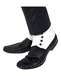 Spats, White With Black Buttons - Spats Fancy Dress Smiffys Gangster Shoe Mens Fancy Black Dress, Adult Fancy Dress, Fancy Dress Accessories, Costume Accessories, White Shoes, Black Boots, Gangster Fancy Dress, 1920s Shoes, 1920s Men