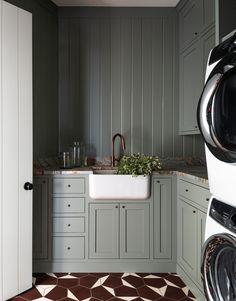 Fox Island   Heidi Caillier Grey Laundry Rooms, Laundry Room Shelves, Laundry Room Cabinets, Farmhouse Laundry Room, Laundry Room Organization, Laundry Room Design, Laundry Cupboard, Farmhouse Style, Laundry Room Inspiration