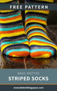 Craft this simple knitted striped sock for your entire family this winter season. This easy knitting pattern is ideal for confident beginner knitters and to those looking for a quick knitting project for the weekend. Knitted Socks Free Pattern, Winter Knitting Patterns, Knitting Socks, Free Knitting, Baby Knitting, Simple Knitting, Crochet Socks, Knit Socks, Quick Knitting Projects