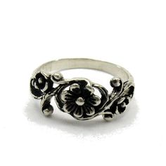 R000084 STERLING SILVER Ring Solid 925 Rose Flower (7.20 USD) by EmpressSilver