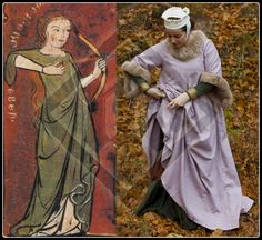 Surcoat. Beginning of the 14 century. Similar examples can be found in Codex Manesse. Pink and grey checkered light wool. Rabbit fur trimming on the neckline and sleeves. No lining. All hand made. Image on the left comes from a casket found in Germany (1320-40) www.ladymalina.com