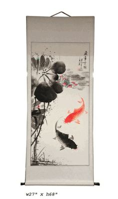 This is a hand painted color ink oriental Koi Fishes scenery scroll painting. Dimensions: x Origin: China Material: Paper Condition: Hand paint Chinese Painting, Chinese Art, Chinese Brush, Chinese Culture, 4 Tattoo, Rustic Photography, Koi Fish Pond, Red Tree, Japanese Art