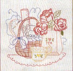 I love vintage linens, especially those with lovely embroidered patterns.  Someone spent a lot of time on this!