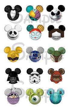 "Various Disney character inspired Mickey head DIGITAL Bottle Cap image sheet 4x6 1"" inch  DIY"
