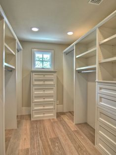 Master Bedroom Closets Design. Pretty much exactly what I want <3 only my vanity would be at the end, with a larger window for natural light :)