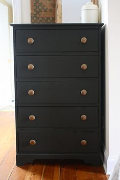Matte Black Painted Dresser Using Flat Black Paint Furniture Redo inside sizing 736 X 1104 Matte Black Bedroom Furniture - If this sounds your first time Black Painted Dressers, Black Painted Furniture, Spray Paint Furniture, Black Bedroom Furniture, Home Furniture, Painting Furniture, Furniture Ideas, Furniture Design, Rustic Furniture