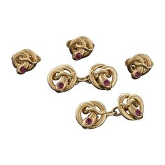 French Art Nouveau Gold Snake Dress Set with Ruby Eyes | From a unique collection of vintage cufflinks at http://www.1stdibs.com/jewelry/cufflinks/cufflinks/