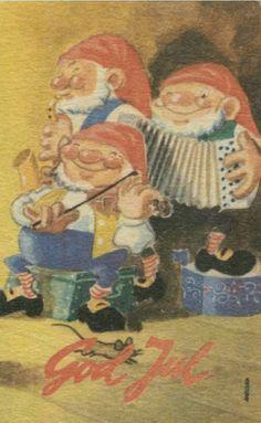 Julekort Frithjof Abelsen. Nisseorkester. No.arb. Stemplet 1949.