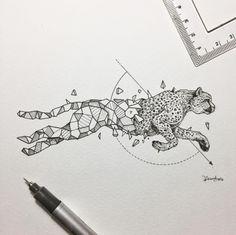 Best Geometric Tattoos And Symbolism Cheetah Drawing, Cheetah Tattoo, Cheetah Logo, Jaguar Tattoo, Body Art Tattoos, Tattoo Drawings, Art Drawings, Tatoos, Geometric Drawing
