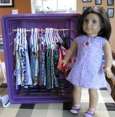 How do you store your American Girl items? You can buy hangers directly from American Girl. Obviously their hangers are made to be appropr. American Girl Crafts, American Doll Clothes, Girl Doll Clothes, Doll Clothes Patterns, Girl Dolls, Diy Clothes, Clothes Storage, American Dolls, Doll Patterns