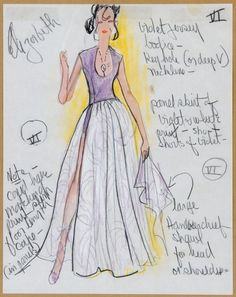 Three Edith Head costume sketches for Elizabeth Taylor : Lot 547