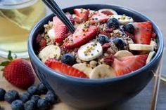 Recipe: Acai Bowl    acai bowl  Blend:        1 packet of frozen acai      1 c. frozen spinach      1/2 c. berries      1 scoop brown rice/hemp protein powder      1 c. almond or rice milk      1 packet of stevia to sweeten    Pour mixture into a bowl.    Add:        walnuts      sliced banana      fresh berries      flaxseed      hempseed (great source of protein)    ENJOY!