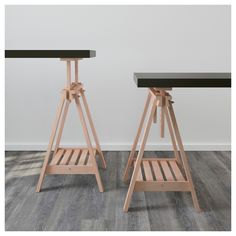 IKEA FINNVARD trestle with shelf Solid wood is a durable natural material. Trestle Table, Table Desk, Wood Furniture Living Room, Furniture Design, Ikea Solid Wood, Ikea Us, Glass Table, Home Furnishings, Recycling