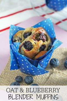 Healthy Oat & Blueberry Blender Muffins Delicious and super healthy, these gluten free Oat & Blueberry Blender Muffins are so easy to make and nutritious enough to have for breakfast! Healthy Muffin Recipes, Blender Recipes, Healthy Baking, Healthy Treats, Healthy Desserts, Baby Food Recipes, Breakfast Recipes, Cooking Recipes, Healthy Food