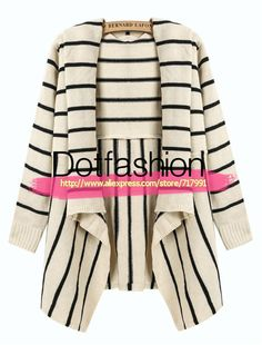 Moda otoño / invierno Tops Plus Size 2014 nuevas mujeres de vestido Casual Beige y negro a rayas drapeado delantero flojo suéter Cardigan en Chaquetas de Moda y Complementos Mujer en AliExpress.com | Alibaba Group