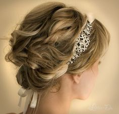 Loose and romantic, back swept do with ribbon and bling band