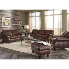 Superbe Monterrey Brown Italian Leather Sofa And Leather Chair | Overstock.com  Shopping   Great Deals On Sofas U0026 Loveseats | Living Room Possibilities |  Pinterest ...